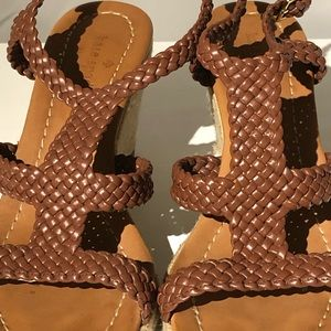 kate spade Shoes - Kate Spade Tianna Leather Strap Brown Wedges 8.5M